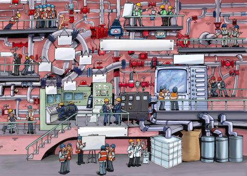 建筑物和大屏幕的城市技术视图