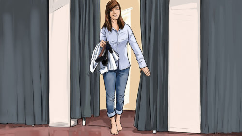 Storyboard of woman at change room