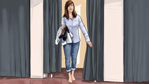 女人在更衣室的故事板