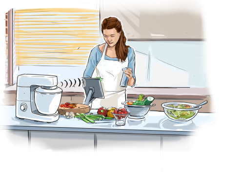 夫人在厨房里做饭
