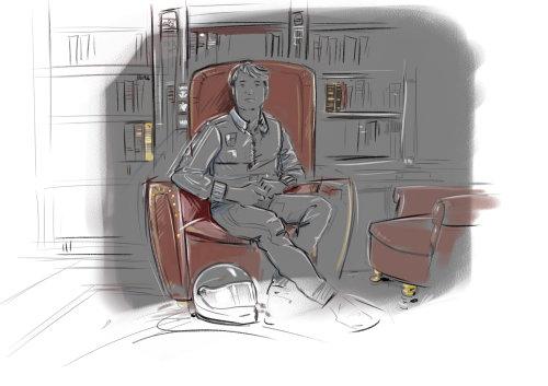 Dark sketch of man sitting on chair