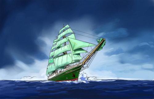 水中旅行船的剪影