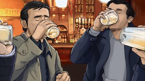 storyboard of people at bar