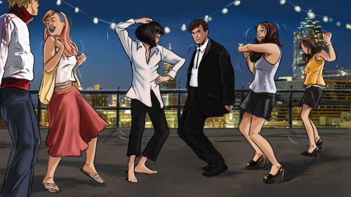 People at party, dancing, enjoying