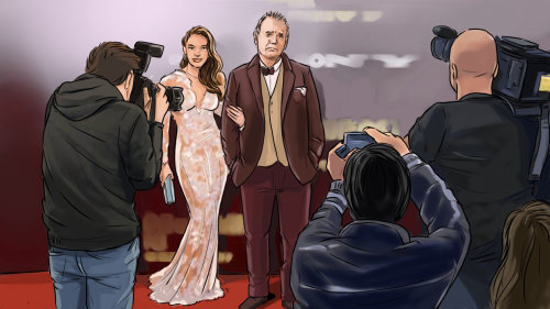 Sketch of Couple posing at red carpet