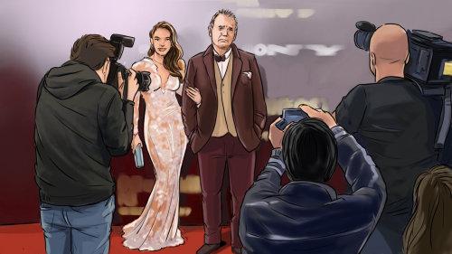 夫妇在红地毯上摆姿势的剪影