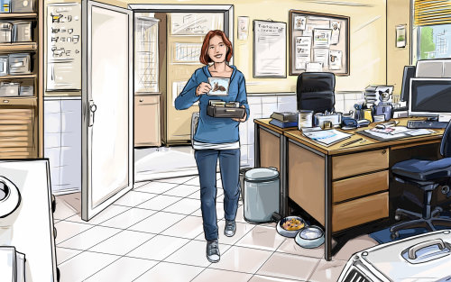 Storyboard of woman at office