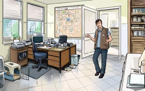 草绘的快乐的人,在办公室