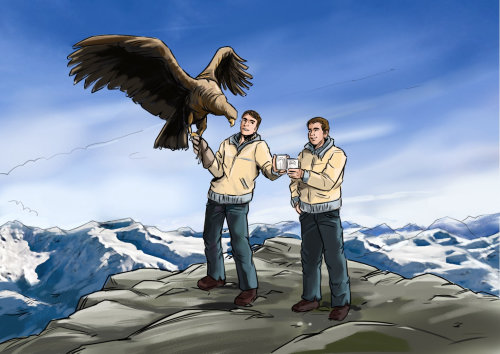 Storyboard of men with eagle