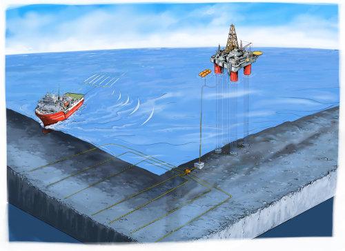 Oil Righ sketch in ocean
