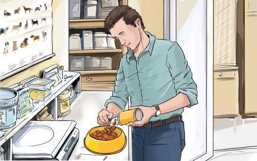 Sketch of a man preparing dog food