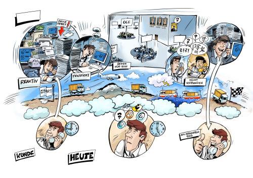 Storyboard sketch illustration of corporate employee