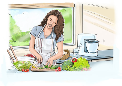 Storyboard of woman in kitchen
