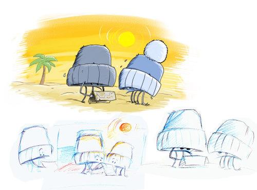 Sketch of crabs under hat