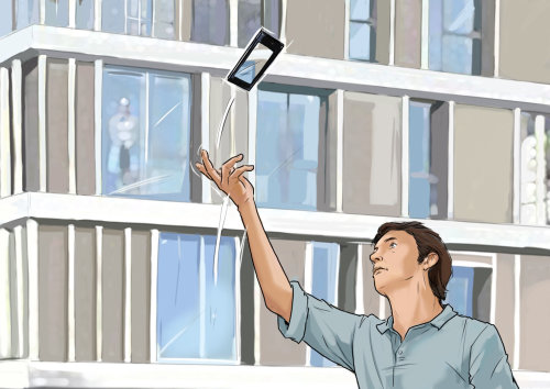 Sketch of man tossing cellphone