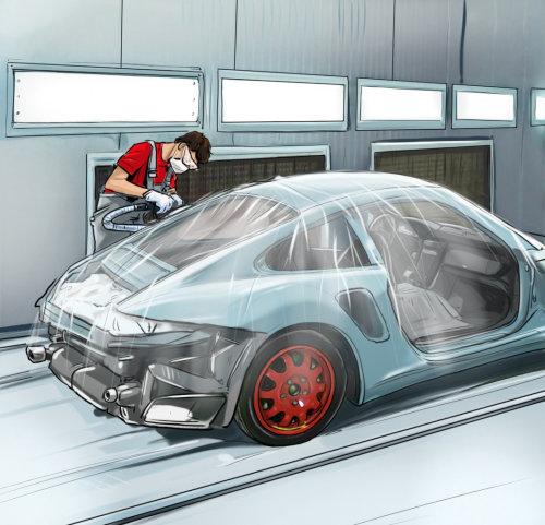 Teachnical storyboard of car repairing