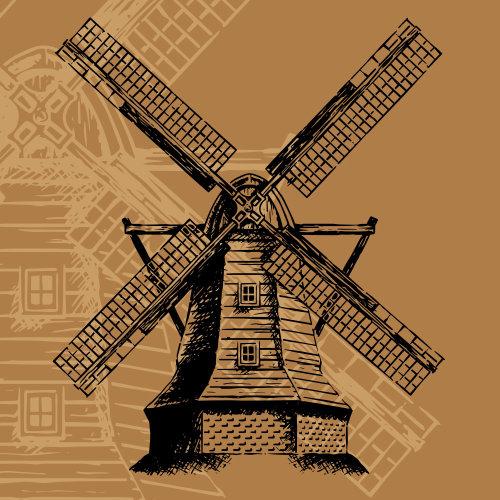 Pintura digital do moinho de vento
