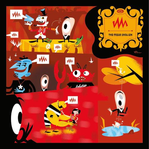 Cartoon illustration of the freak show