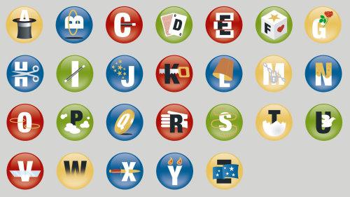 Ilustração de ícones de alfabetos