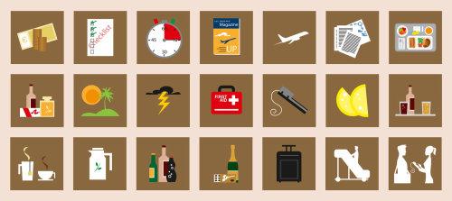 Ilustração de adesivos de lista de verificação de viagem
