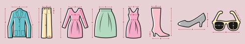 Medidas de roupas design gráfico