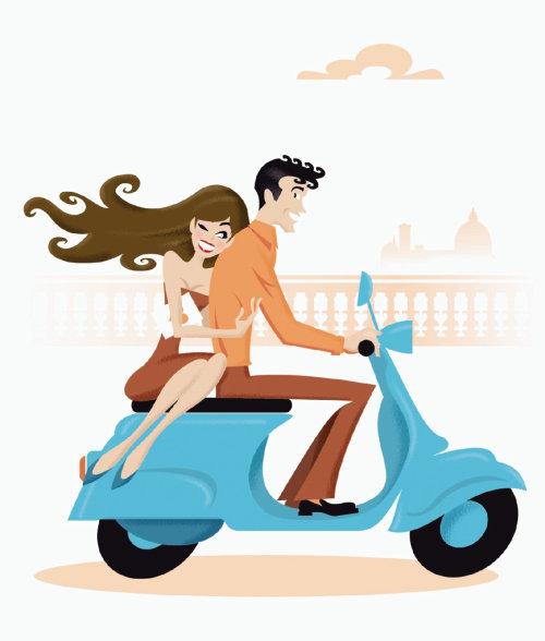 Pessoas menina e menino em scooter