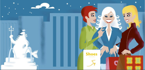 Graphic three woman shopping