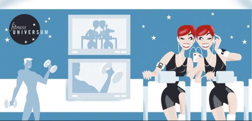 Mulheres geradas por computador em estúdio de fitness