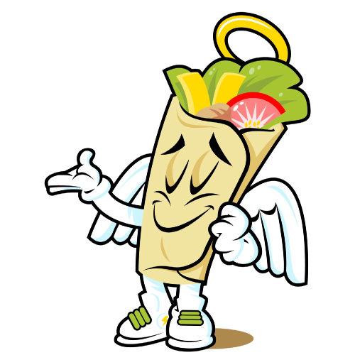 Desenho e humor taco wrap angel