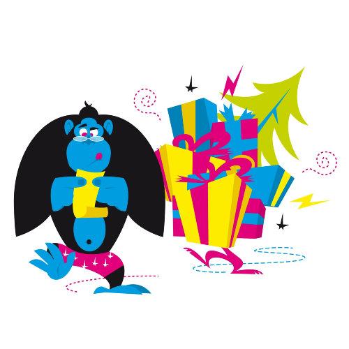 macaco azul adivinhando presentes que recebeu