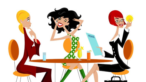 Retro illustration of girl's at restaurant