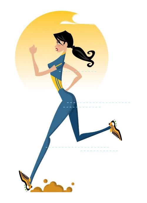 Woman running Editorial illustration
