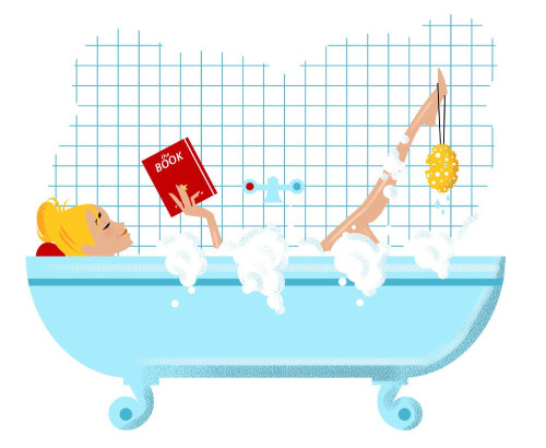 Ilustração de linha de livro de leitura na banheira