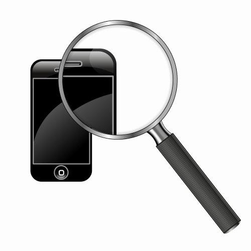 Ilustração técnica de pesquisa no telefone