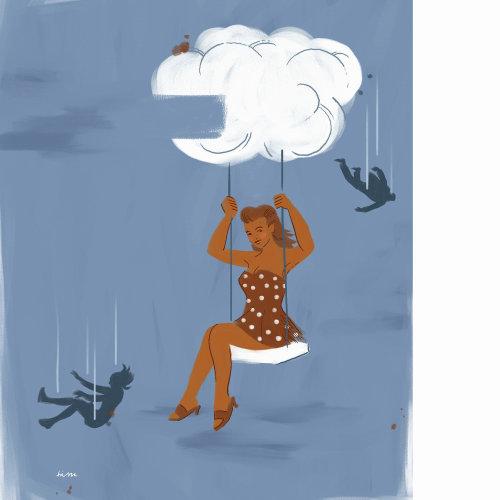 Ilustração de pessoas de rolar na corda