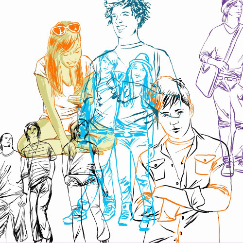 Ilustração de linhas coloridas de pessoas