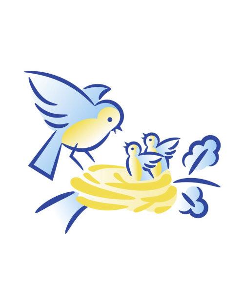Vector illustration of birds family
