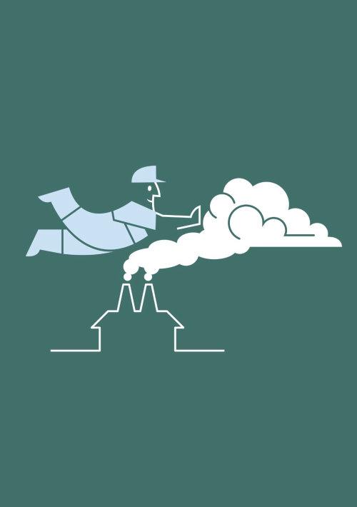 Design gráfico de voar nas nuvens