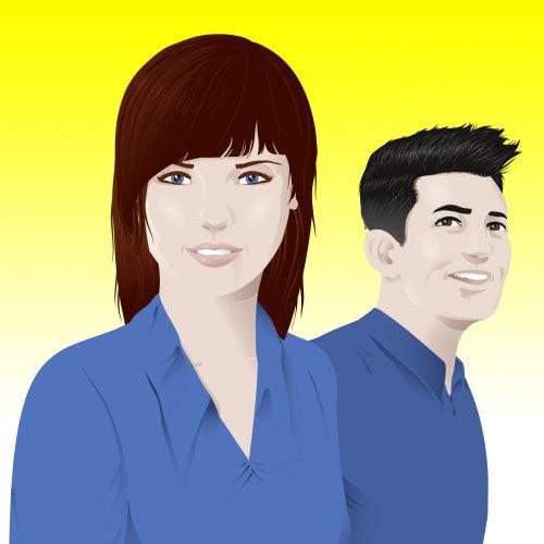 Retrato infográfico de menina e menino