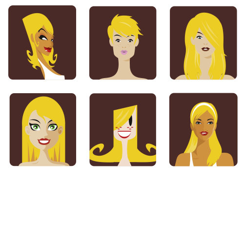 People illustration of yellow hair girl's