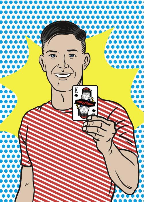 Ilustração dos desenhos animados de cartas de jogar