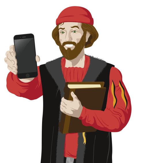 Homem mostrando a pintura digital do telefone