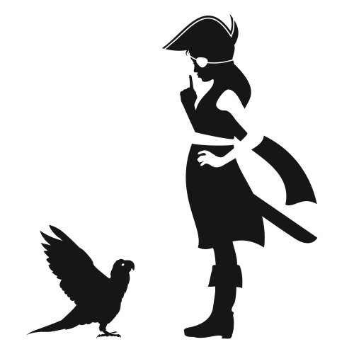 Girl and crow vector illustration