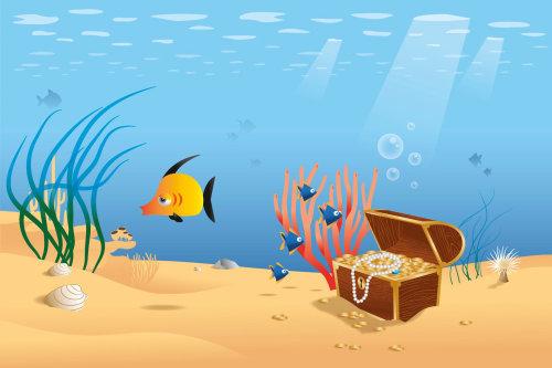 Graphic design of treasure under sea