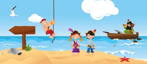 Ilustração de crianças se divertindo na praia