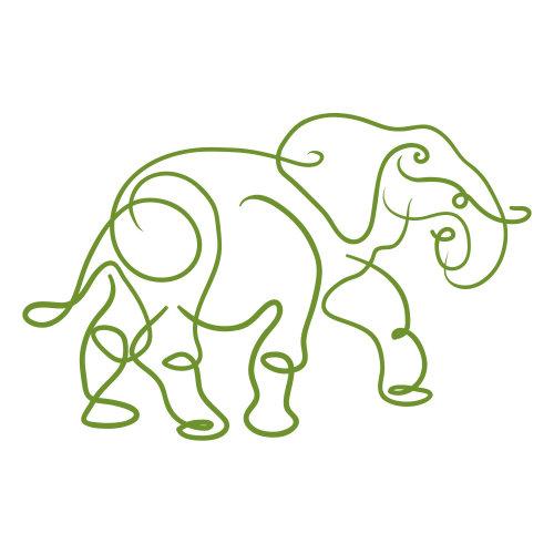 Line illustration of elephant