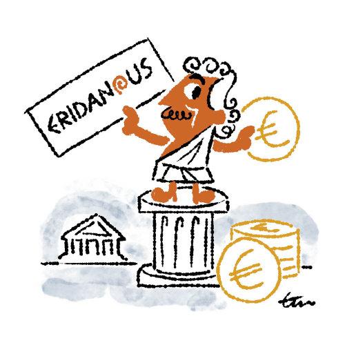 Cartoon illustration of money exchange