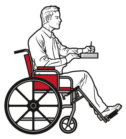 Uma ilustração de um homem em cadeira de rodas