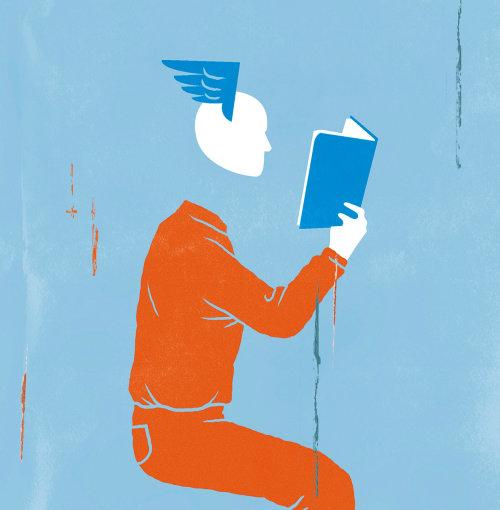 Ilustração de pessoas de livro de leitura