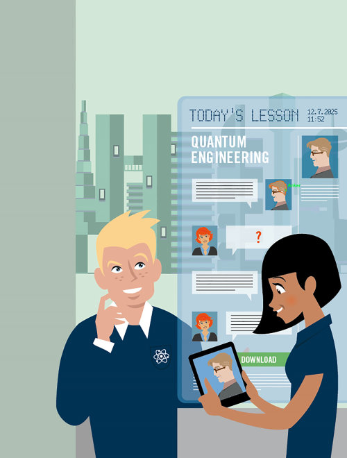 People illustration of online learning
